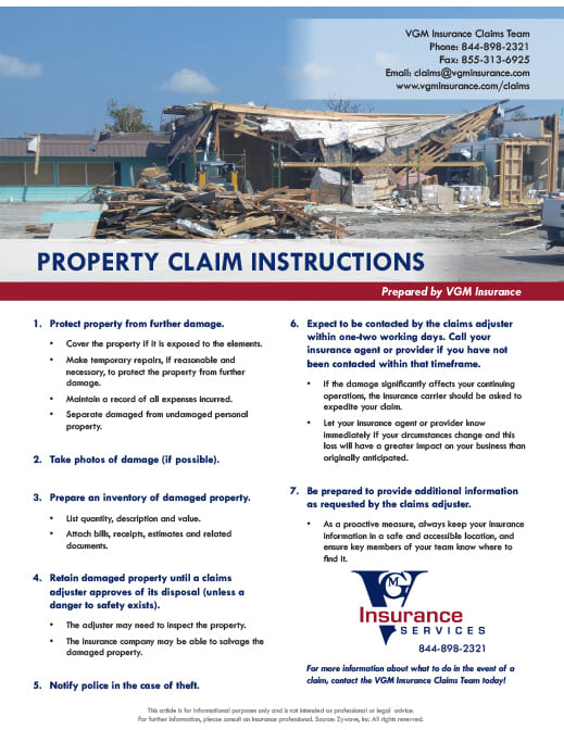 Property Claim Instructions document image