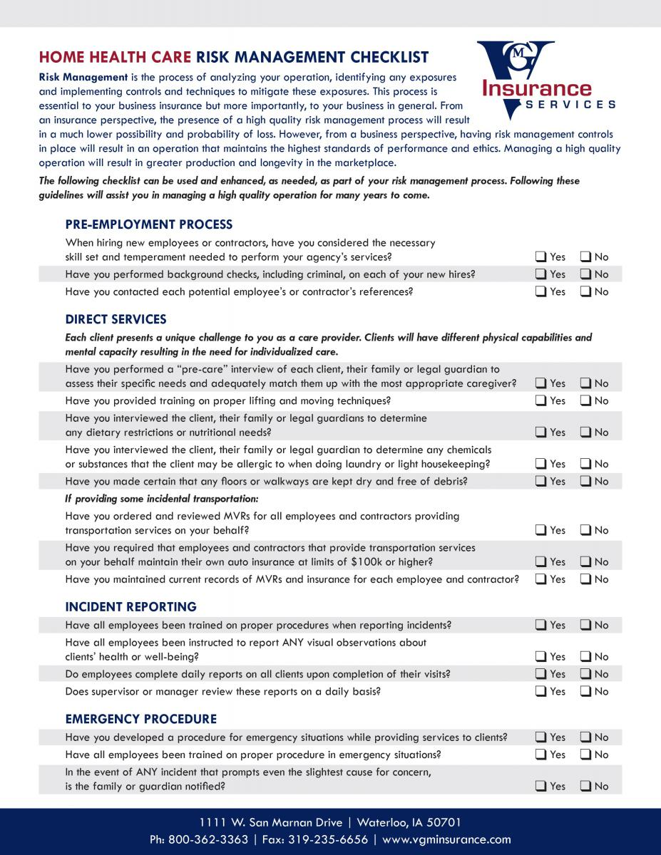 Home Health Care Risk Management Checklist document image