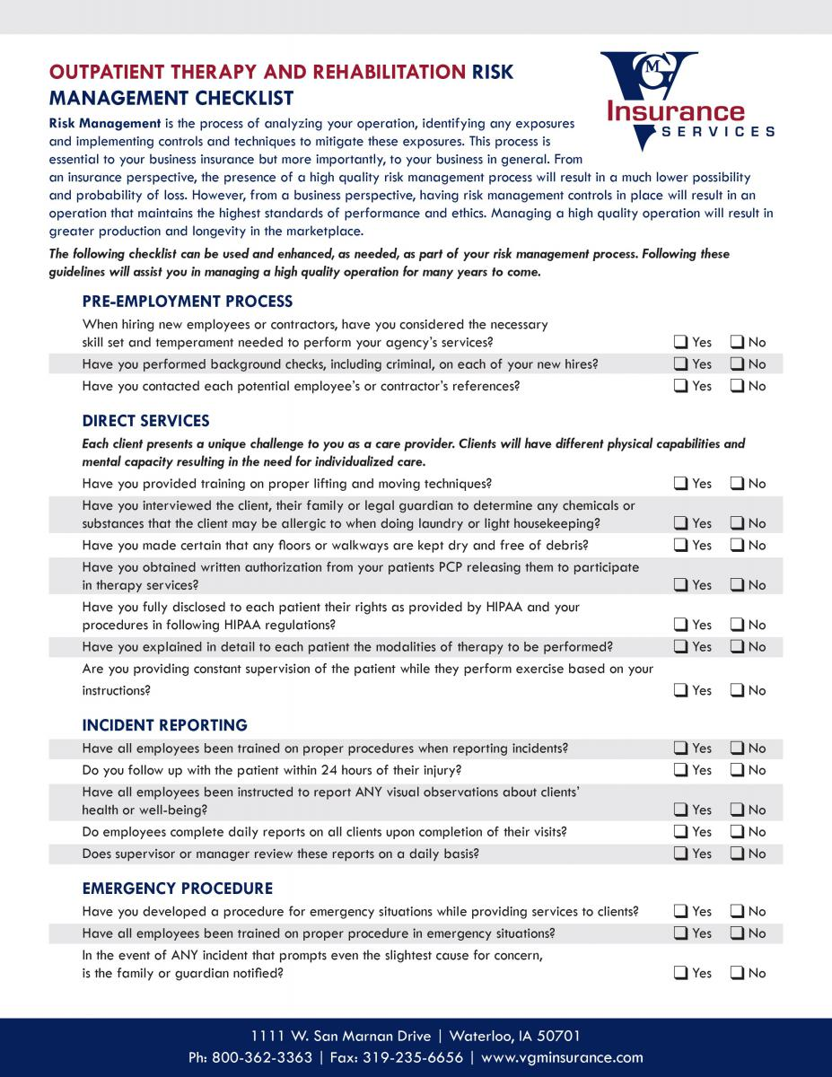 Outpatient Therapy and Rehabilitation Risk Management Checklist document image